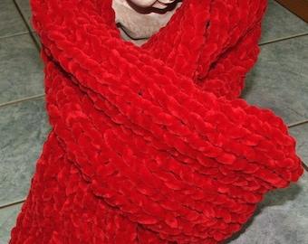 Handmade - Red color in 1/1 rib scarf - Velvet