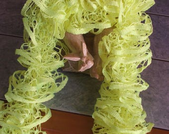 Handmade ruffle scarf - yellow fresh colors for the season-