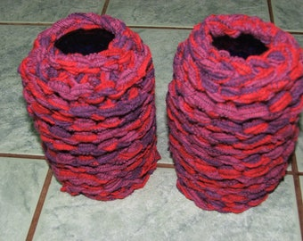 Pair of Leggings or leg warmers in red and Purple Ribbon - hand made - polyester