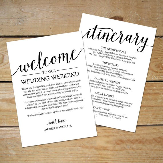 Wedding Itinerary Template Wedding Welcome Note // Printable