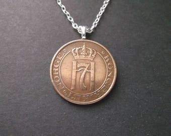 Norway 5 Ore Coin Necklace  -  Norge 5 Ore Coin Pendant  - 1933 Norway Coin Necklace with Bail and Chain
