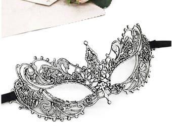 Venetian Silver Lace Face Eye Mask, Halloween Women Costume Masquerade Mask