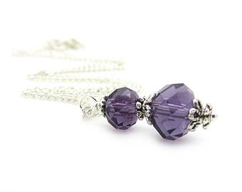 Lapis Bridesmaid Jewellery, Eggplant Wedding, Bridesmaid Necklace, Sangria Bridal Sets, Purple Crystal Drop Pendant, Bridal Party Gift