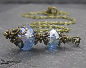 Blue Crystal Necklace with Antique Bronze, Rustic Bridesmaid Jewellery, Bridal Party Gifts, Matching Jewellery Sets, Vintage Style Wedding