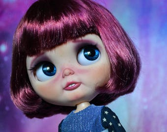 RESERVED - OOAK Custom Factory Blythe Doll - With Short Maroon Hair - Astrid - Payment 2