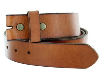Heavy Duty Brown Tan Leather Snap Belt Strap M L XL - Snap on - For your Buckles - Cool Gifts for Him - Men - Guys -