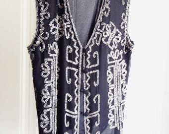 Silk Silver Glass Beaded Vest - Evening Wear - Dress Vest - Size S - Boho - Gypsy  High Fashion- Vintage 1980s