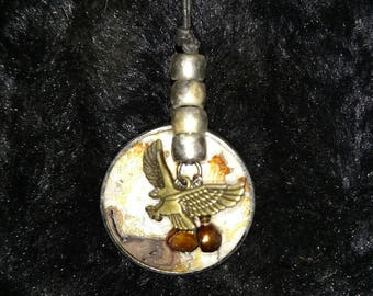 Soaring Eagle Over an Earth-colored Stone Background