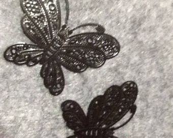 2 PRINTS FIVE EMBELLISHMENT JEWELRY BLACK BUTTERFLY CHARMS