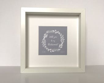 Personalised will you be my bridesmaid Framed Print | Thank you for bridesmaids wedding party word art gift