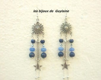Earrings lapis lazuli, agate and crystal