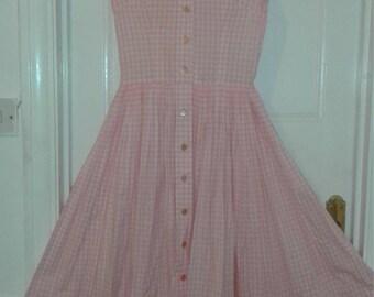 Vintage 50s Pink Gingham Dress