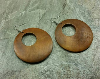 Light Brown Earrings Brown Wooden Earrings - Brown Wood Earrings - Brown Dangle - Brown Circle Earrings - Africa Earrings Ethnic Earrings