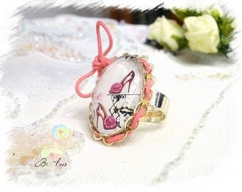 "shabby chic white and pink ""pink pair of shoes"" ring BA112"