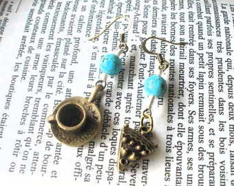 Trendy turquoise and bronze 'breakfast' earrings