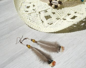 ethnic yellow feather earrings country