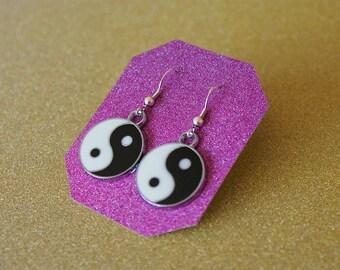 Yin Yang Earrings, Alloy Enamel Earrings, Sterling Silver Earrings, Drop Earrings, For Her
