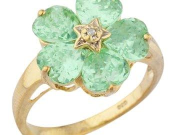 14Kt Yellow Gold Plated Green Sapphire & Diamond Heart Ring