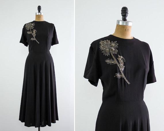 vintage 1940s rayon dress | 40s black dress | 1940s dress medium | 40s rayon crepe dress