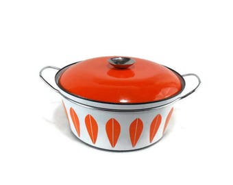 "Vintage 2 Quart Cathrineholm Lotus Covered 8-5/8"" Casserole * Orange Dutch Oven * Stock Pot"