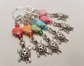 Seashell and turtle stitch markers