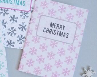 Modern Christmas Card, Pink Snowflake Pattern, Christmas Greetings Card, Contemporary Christmas Card, Modern Stationery