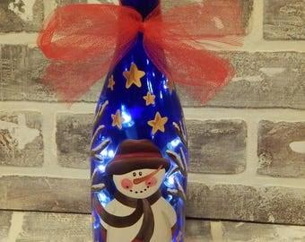 Hand Painted Light Up Snowman Wine Bottle.Wine Bottle Lamp.Light Up Bottle.Hand Painted Wine Bottle.Hnd Painted Snowman Bottle.Snowman Art