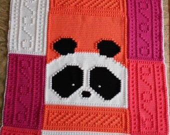 PANDA pattern for crocheted blanket