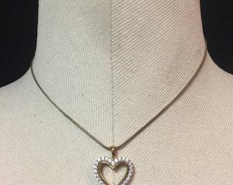 Sterling Silver Vermeil Heart CZ Pendant Necklace 9.21.9