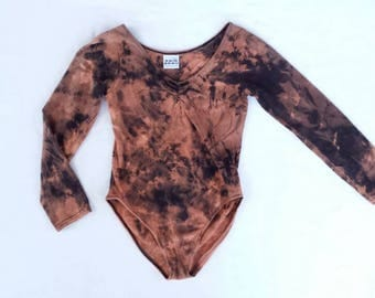 90s Vintage Reverse Tie Dye Bleached Leotard Small XS One Pice Dance Wear 80s Workout Long Sleeve High Cut