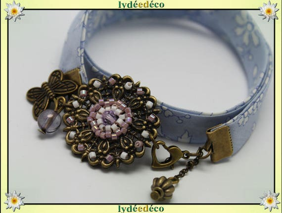 Retro bracelet Pastel print lilac purple liberty flower and Pearl White Japanese Glass Butterfly brass bronze