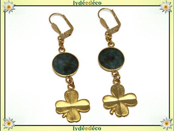 Lucky Golden brass gold 24 carat earrings 24 k 4 clover leaf green brown resin