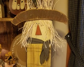 Scarecrow, handmade wooden scarecrow , primitive scarecrow,  country fall decor