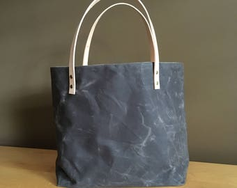 Waxed Canvas Tote - Chocolate
