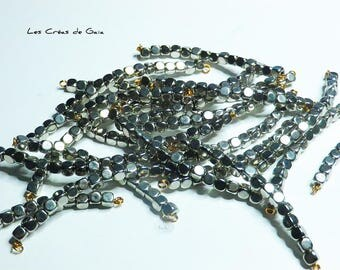 15 x metal rounded cube beads