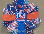 "Cute Patriotic Flip Flop Wreath ""I Love America"".  Door Wall Decor Unique Gift"