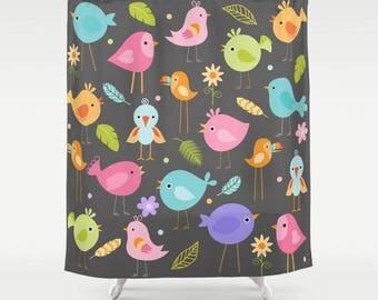 Birds Shower Curtain, Bird Shower Curtain, Bird Bathroom, Bird Lover, Kids Shower Curtain, Childrens Shower, cartoon, childs shower, gray