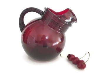 Mid Century Vintage Tilt Ball Pitcher Anchor Hocking Royal Ruby Red Juice Pitcher Water Pitcher Retro Kitchen Decor