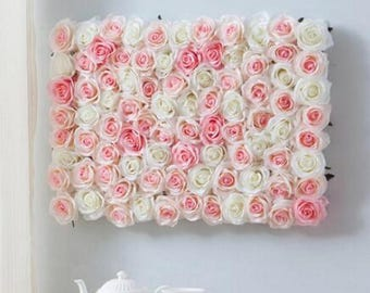 Wedding Backdrops Blush Pink White Silk Flower Wall Background For Romantic Wedding Photography Silk Rose Flower Panels 40*60cm CJHQ-Q004