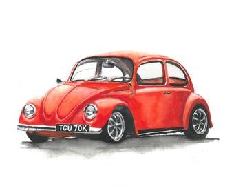 "Volkswagen Beetle 1972 ""Bert"". A4 print from original watercolour painting."