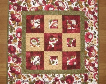 Red Quilted Table Topper, Red Gold Green Table Runner, Red Gold Green Table Mat, Square Table Topper, Quiltsy Handmade, Red Quilt