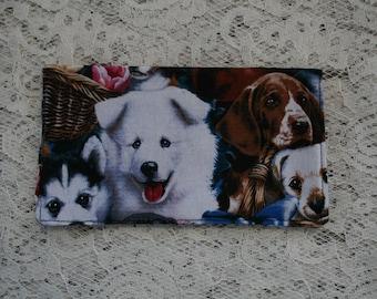 Puppy Dog  Fabric  Checkbook Cover Cotton Handmade