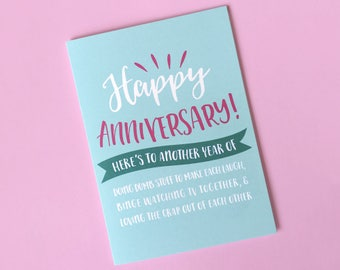 Happy Anniversary Card - Cute Anniversary Card - Love Card - Card for Wife - Card for Girlfriend - Card for Boyfriend - Card for Husband