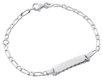 Silver curb chain Bracelet for child with engraved name 61858135 16 cm