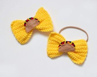 Taco bow/ taco clip/ taco outfit/ girls bows/ bows/ taco gift/