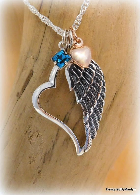 Sterling silver angel wing necklace, heart necklace,  memorial necklace, religious necklace