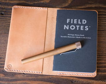 "Leather notebook cover for Field Notes and other 3.5x5.5"" pocket notebooks - tan"