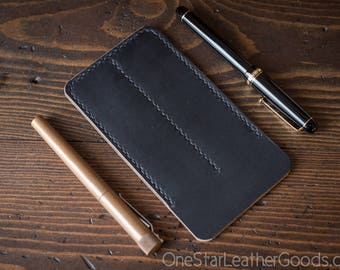 Double pen sleeve case, Horween Chromexcel leather - black