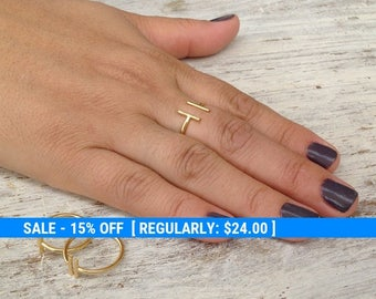 Adjustable ring, gold ring, knuckle ring, bar ring, adjustable gold ring, gold knuckle ring - 10034