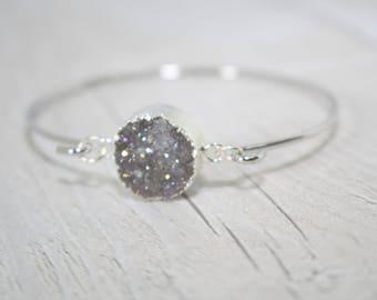 Silver Druzy Bangle, Silver Bangle, Bridesmaid Jewellery, Bridesmaid Gift, Druzy Jewellery, Crystal Bangle, Druzy Crystal Bracelet